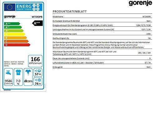 Gorenje W 7243 PB Waschmaschine FL / A+++ / 7 kg / 1400 UpM / schwarz / AquaStop / SensoCare-Waschsystem / Quick 17 / Colour Collection