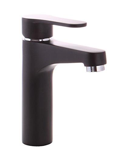 Grünblatt Schwarz Waschtischarmatur mit Exzentergarnitur aus Messing Einhebelmischer Wasserhahn Badarmaturen armaturen Waschtischarmaturen