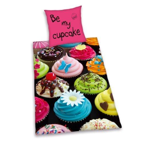 Herding 445966050412 Bettwäsche Young Collection Cupcake, Kopfkissenbezug 80 x 80 cm und Bettbezug 135 x 200 cm, 100% Baumwolle, Renforce