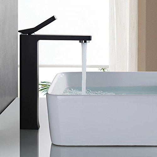 Homelody® Schwarz Waschtisch Wasserhahn,Bad Waschbecken Armatur,Waschtischarmatur EinhebelMischbatterie Waschbeckenarmatur (Schlauche nach DVGW Authentifizieren)