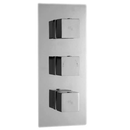 Hudson Reed Triple Unterputz Armatur Kubix - Thermostatische Unterputzarmatur mit Funktionswechsler - Verchromtes Messing - 3-Wege-Mischbatterie - 3 Funktionen - Ideal für moderne Bäder und Duschen