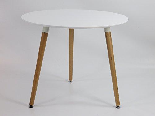 Inspiration Retro Tisch MDF rund 90 cm Durchmesser in Weiß