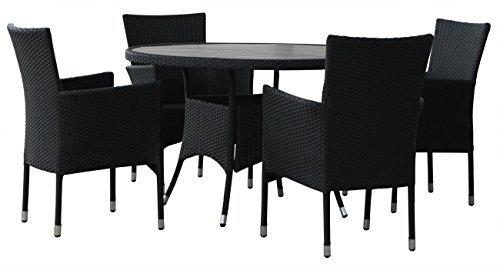 kmh gartensitzgruppe aus schwarzem polyrattan 1 runder tisch und 4 gartensessel 106242. Black Bedroom Furniture Sets. Home Design Ideas