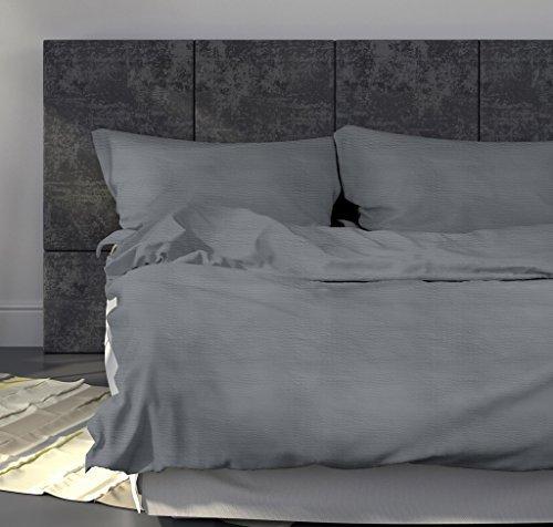 Leichte Seersucker Bettwäsche 155 x 220 cm Grau – atmungsaktiver Kopfkissen- und Bettdecken-Bezug aus reiner Baumwolle mit Reißverschluss – 2 teiliges kühles Sommer-Bettwäsche Set Übergröße