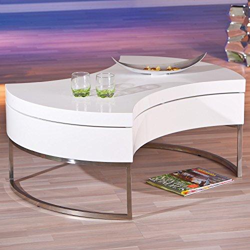 Inter Link 20800890 Couchtisch weiß hochglanz Wohnzimmertisch Wohnzimmer Tisch mit Stauraum drehbar