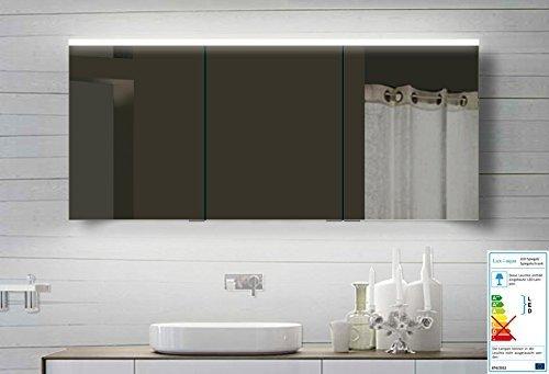 Lux-aqua Alu Badezimmerspiegelschrank Bad Spiegelschrank mit Led Beleuchtung 140x70 cm