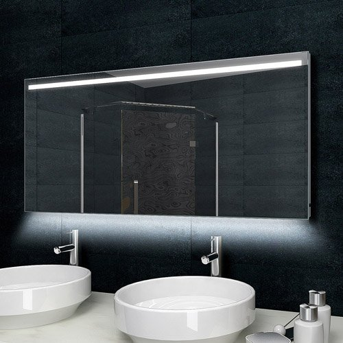 Lux-aqua Design Badezimmerspiegel Alu-Rahmen LED Beleuchtung mit 1000 Lumen 140 x 60 cm MLD60140