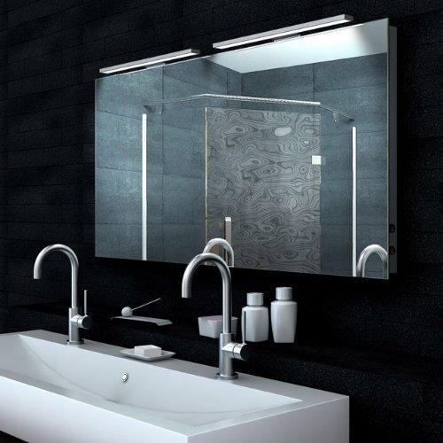 Lux-aqua Design Lichtspiegel mit 1220 Lumen Badezimmerspiegel mit Heizfolie LED 130x65 MA65130