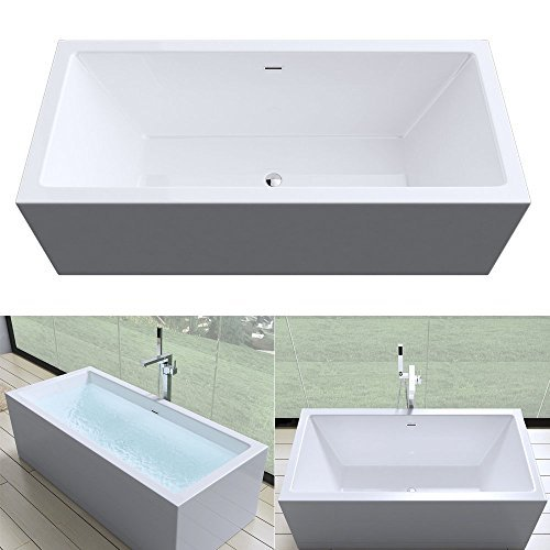 Moderne Design Badewanne Vicenza509OA freistehend in weiß, ohne Armatur, BTH: 180x80x58 cm