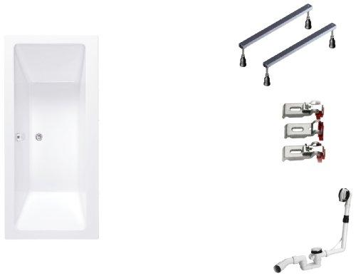 Mybath BWSET142RF Badewannen komplett Set inklusiv Acryl Rechteck, Fußgestell und Über- Ablaufgarnitur, 170 x 75 cm