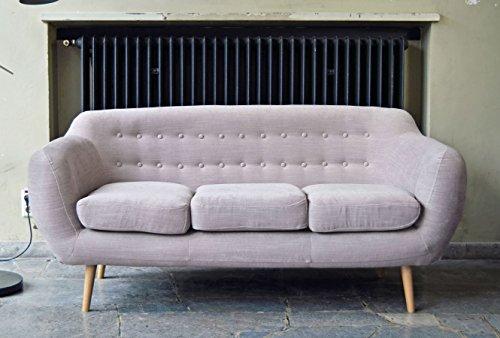 Retro Sofa Indigo 3-Sitzer Stoff Hellgrau
