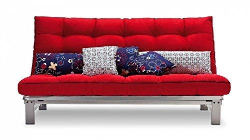 Schlafsofa rot Stoff Couch Liege Bett günstig