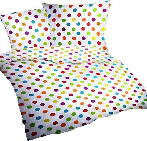 Carpe Sonno Seersucker Bettwäsche-Set Bubble Bobble 135x200 cm Weiß mit bunten Punkten - Bettdecke und Kopfkissen-Bezug aus 100%-Baumwolle - Der bügelfreie & luftig leichte Bett-Bezug für den Sommer
