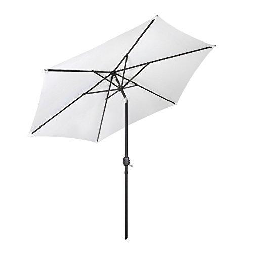 Sekey® Sonnenschirm Ø 300 cm Aluminium-Sonnenschirm Marktschirm Gartenschirm Terrassenschirm Weiß Sonnenschutz UV50+