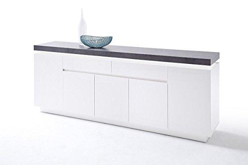 Sideboard weiss matt lackiert/ grau mit LED Beleuchtung