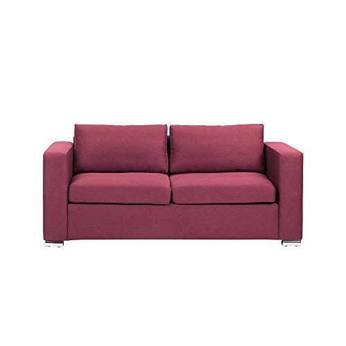 Beliani 3-Sitzer Sofa Polsterbezug Burgunderrot Helsinki