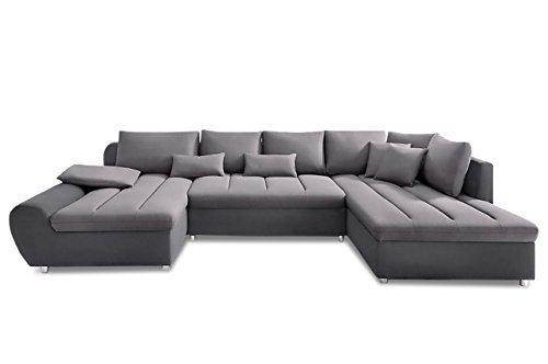 Sofa Sit&More Wohnlandschaft Bandos XXL - Flachgewebe Grau/Hellgrau