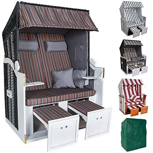 TecTake Zweisitzer Strandkorb + Premium Schutzhülle + 2 extra Kissen -diverse Farben- (Mehrfarbig | Nr. 401122)