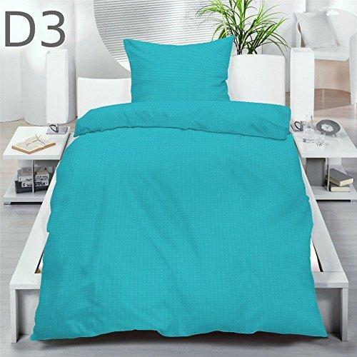 Uni Microfaser Seersucker Bettwäsche 135x200 155x220 Einfarbig 80x80 Kissenbezug, Farbe:Karibikblau;Größe:135 x 200 cm