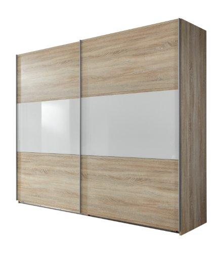 Wimex Kleiderschrank/Schwebetürenschrank Match Up, (B/H/T) 270 x 236 x 65 cm, Eiche Sägerau/Absetzung Glas Weiß
