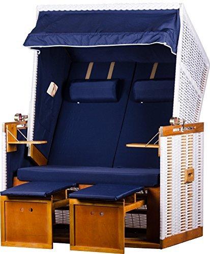 """Zweisitzer Strandkorb Weißes PE-Rattan Modell """"Nordsee Blau"""" Strandkörbe inkl. Premium Strandkorb-Schutzhülle + Strandkorb-Rollen"""