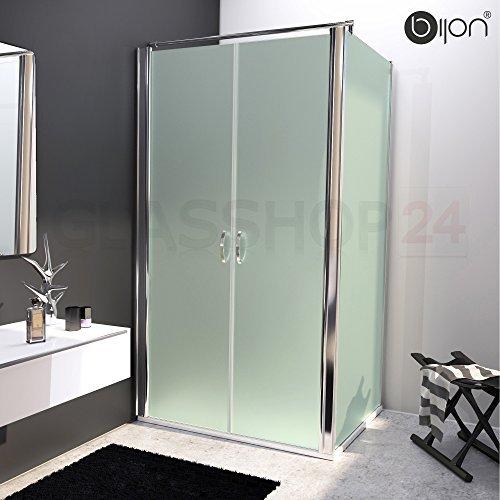 bijon® Design Glas Eckdusche mit Pendeltür | Nano | Mattglas | 125 x 195cm + Seitenwand 100 x 195cm
