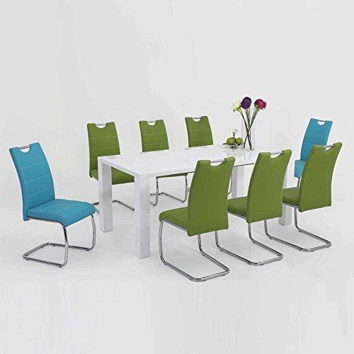 Pharao24 Esstischgruppe mit ausziehbarem Tisch Weiß Hochglanz Blau Grün (9-teilig)