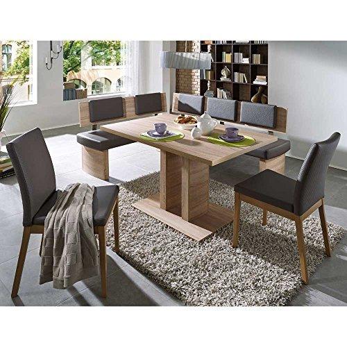 Pharao24 Esszimmer Sitzgruppe mit Eckbank Eiche Sonoma Grau Kunstleder (4-Teilig)
