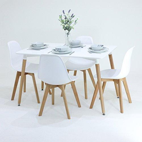 P & N Homewares® Rico Esstisch und Stühle Set 4Stühlen und 1Esstisch Retro und Moderne Esszimmergarnitur weiß schwarz und grau Stühle Retro weiß