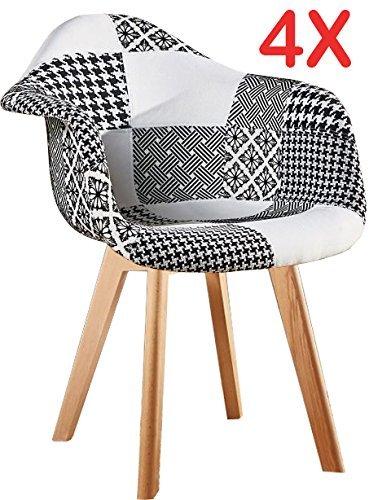 """P&N Homewares® Patchwork Esstisch- und Stuhl-Set """"Fabia"""", schwarz und weiß, skandinavisches Design, Stuhlbeine in Tulpendesign"""