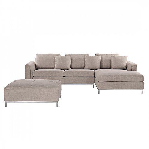Sofa / Couch L - Designer / Polstersofa beige Oslo