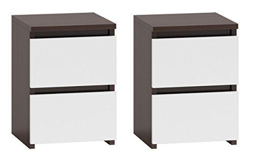 Nachttisch mit 2 Schubladen Nachtkommode Nachtkonsole Beistelltisch Nachtschrank (2x Wenge - Weiss)