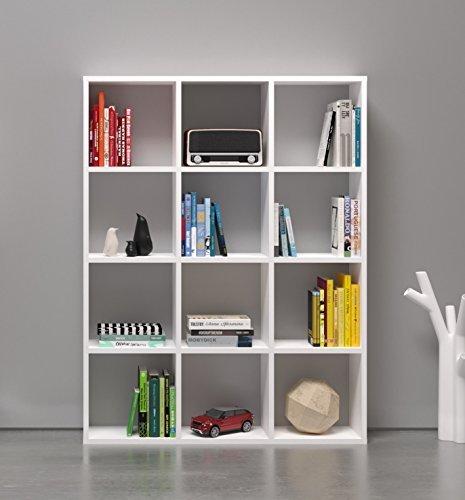 BASIC Bücherregal - Weiß - Büroregal - Raumteiler - Standregal für Wohnzimmer oder Büro in elegantem Design