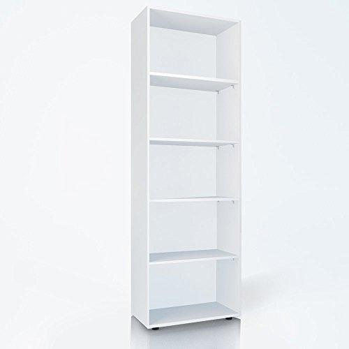Bücherregal 5 Fächer Regal Standregal Aktenregal Aktenschrank (Weiß)
