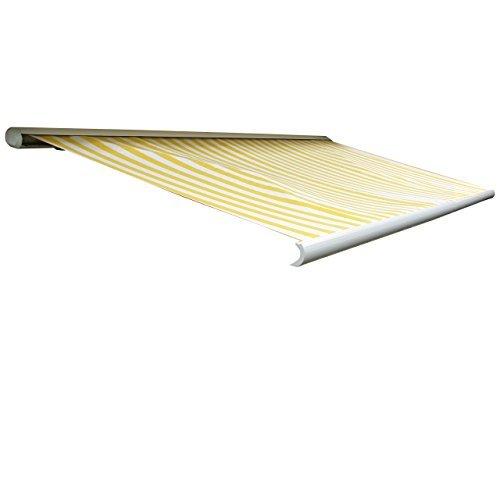 Mendler Elektrische Kassetten-Markise T122, Vollkassette Volant 4x3m ~ Polyester Gelb/Weiß