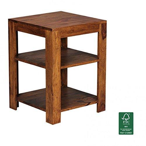 FineBuy Standregal MAHAL 44 x 60 x 44 cm Sheesham Massiv-Holz Stehregal 3 Ablagen | Abstelltisch Küche Niedrig | Ablagetisch Dunkelbraun Abstellregal Diele | Palisander Deko-Regal Tisch Flur Büro