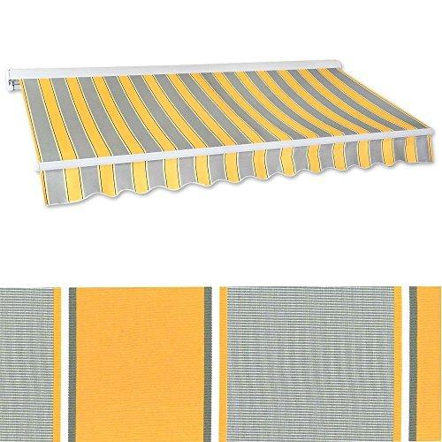 Jawoll Kassetten-Markise 4 x 2,5 m (Profilfarbe: Weiß) Sonnenschutz Alu Markise Schattenspender Sonnensegel Hülsenmarkise Gelenkarm-Markise
