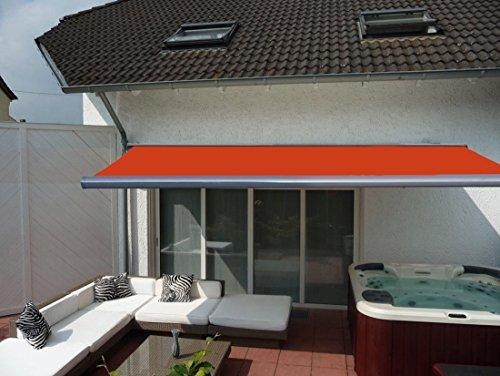 Prime Tech Elektrische Kassettenmarkise / Gelenkarm-Markise 450 x 300 cm / Gehäuse anthrazit-grau / Tuch orange - rot / #580