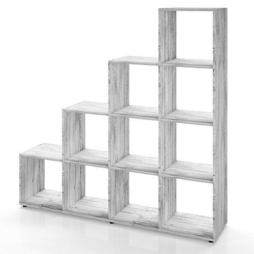 Treppenregal 6 oder 10 Fächer in Weiß, Grau Beton oder Eiche Sonoma - Raumteiler Stufenregal Bücherregal Aktenregal Standregal