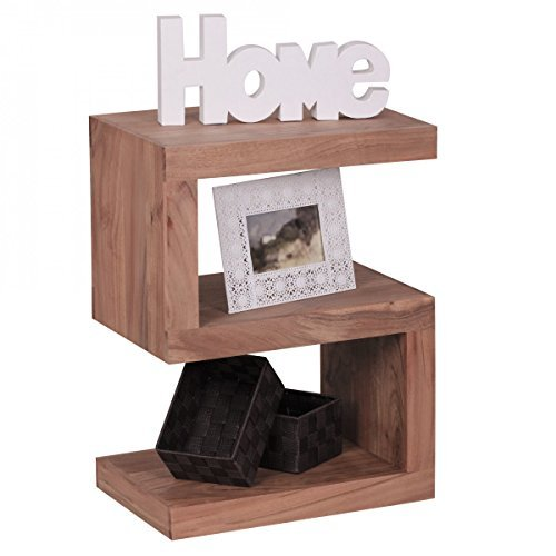 """Wohnling Massivholz Beistelltisch """"S"""" Cube 45 x 30 x 60 cm mit Ablage"""