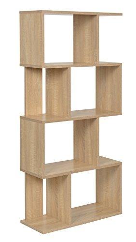 ts-ideen Design Regal Hochregal Standregal Bücherregal CD-Regal Aufbewahrung Holz Eichenoptik 128,5 x 60 cm