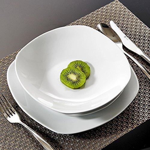 Malacasa, Serie Elisa, 18-tlg. Set Porzellan Tellerset Geschirrset Tafelservice mit je 6x Speiseteller Essteller, 6x Kuchenteller Dessertteller, 6x Suppenteller Tiefteller für 6 Personen