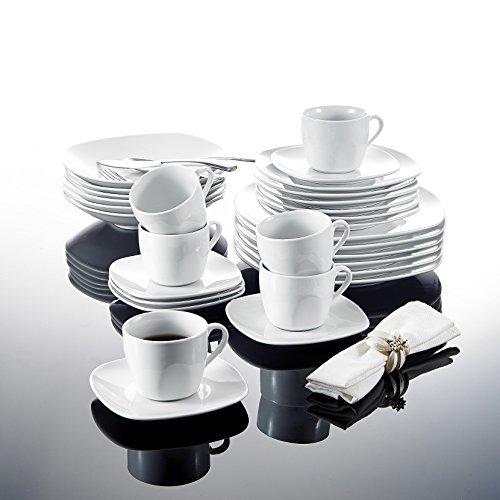 Malacasa, Serie Elisa, 60 tlg. Set Tafelservice aus Porzellan Kombiservice Abgerundet Geschirr Set, mit je 12 Kaffeetassen, 12 Untertassen, 12 Dessertteller, 12 Suppenteller und 12 Essteller, Kaffeeservice