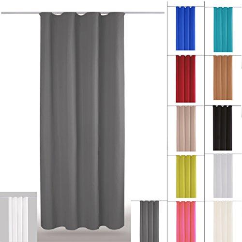 Bestlivings Gardine Vorhang blickdicht modern mit Universalband Kräuselband Mikrosatin matt, in vielen verschiedenen Farben und Größen, Auswahl ANTHRAZIT in der Größe: B-140cm x L-245cm