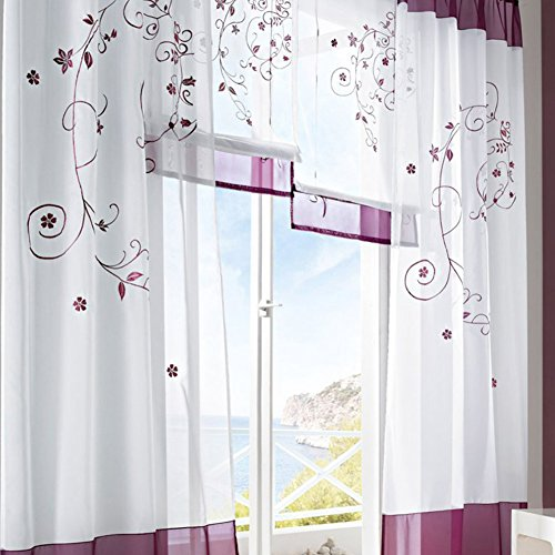 LianLe Gardine Vorhang Landschaft Stil für Wohnzimmer Schlafzimmer Studiezimmer (B:140*175cm, Lila)