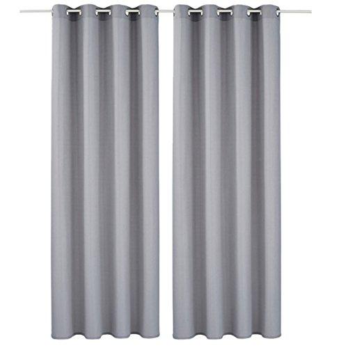 Souarts Grau Blickdicht Gardine Vorhänge mit Ösen Dekoschal Ösenschal für Wohnzimmer Schlafzimmer Studierzimmer 140x225cm(BxH) Nur eine Schal