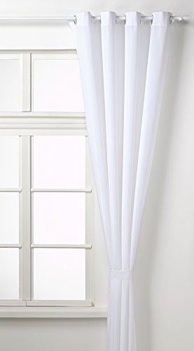 Vorhang Blickdicht Schal, Matte unifarbene Gardine mit Ösen. Material aus Microsatin Micofaser-Gewebe. 245x140, Weiß, 20405