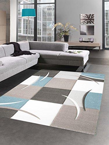 Designer Teppich Karo Pastell blau creme braun taupe Größe 80 x 300 cm