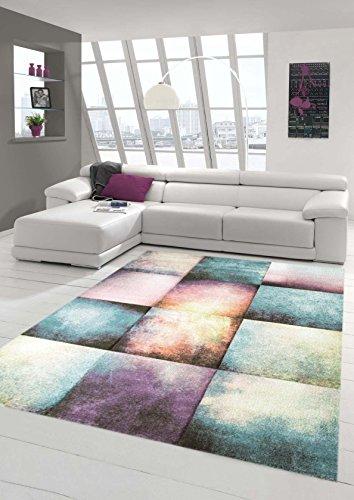 Teppich-Traum Designerteppich moderner Teppich für Wohnzimmer Kurzflor Teppich bunt modern in Lila, Blau, Beige, Größe 80x150 cm