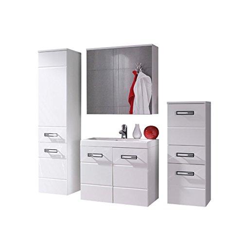 Badmöbel Set Atria mit Waschbecken und Siphon, Modernes Badezimmer, Komplett, Spiegelschrank, Waschtisch, Hochschrank, Möbel (Weiß / Weiß Hochglanz)